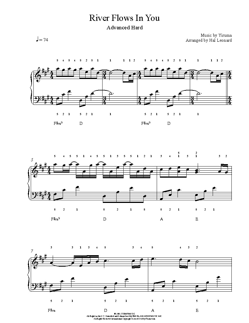 River Flows In Youyiruma Piano Sheet Music | Advanced Level - Free Printable Sheet Music For Piano
