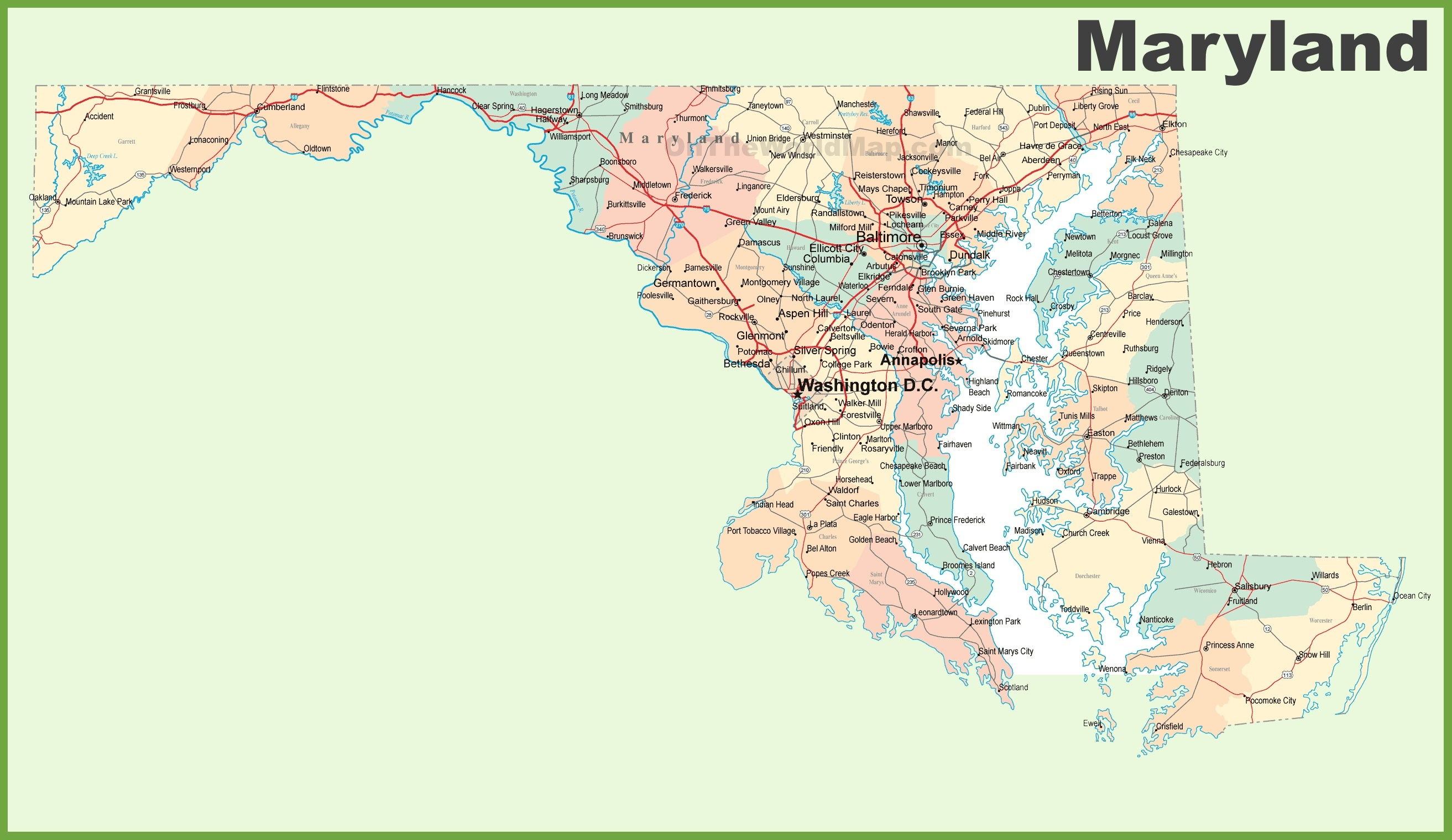 Road Map Of Maryland With Cities - Free Printable Map Of Maryland