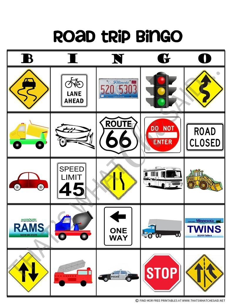 Road Trip Bingo Free Printables | Car Ride Activities | Road Trip - Free Printable Car Bingo
