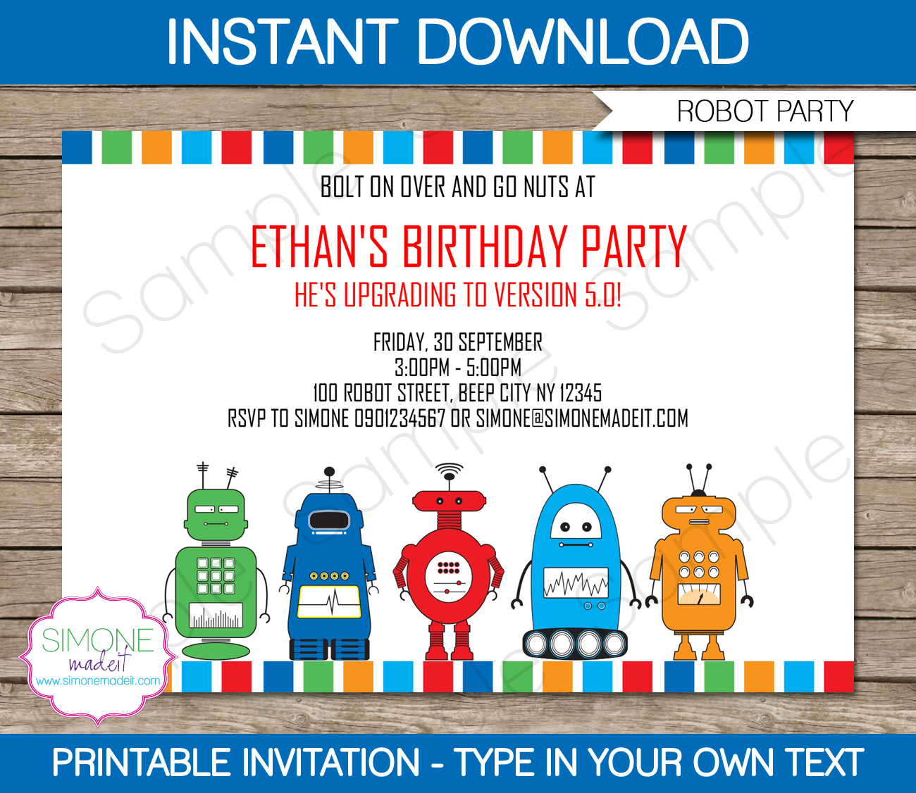 Robot Party Invitations Template | Birthday Party - Simone Made It Free Printables