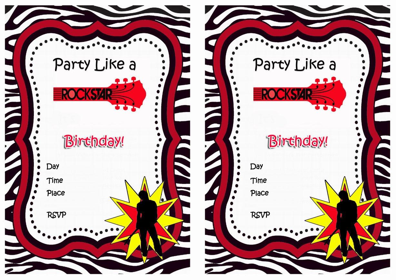 Rock Star Birthday Invitations | Birthday Printable - Free Printable Rockstar Birthday Invitations