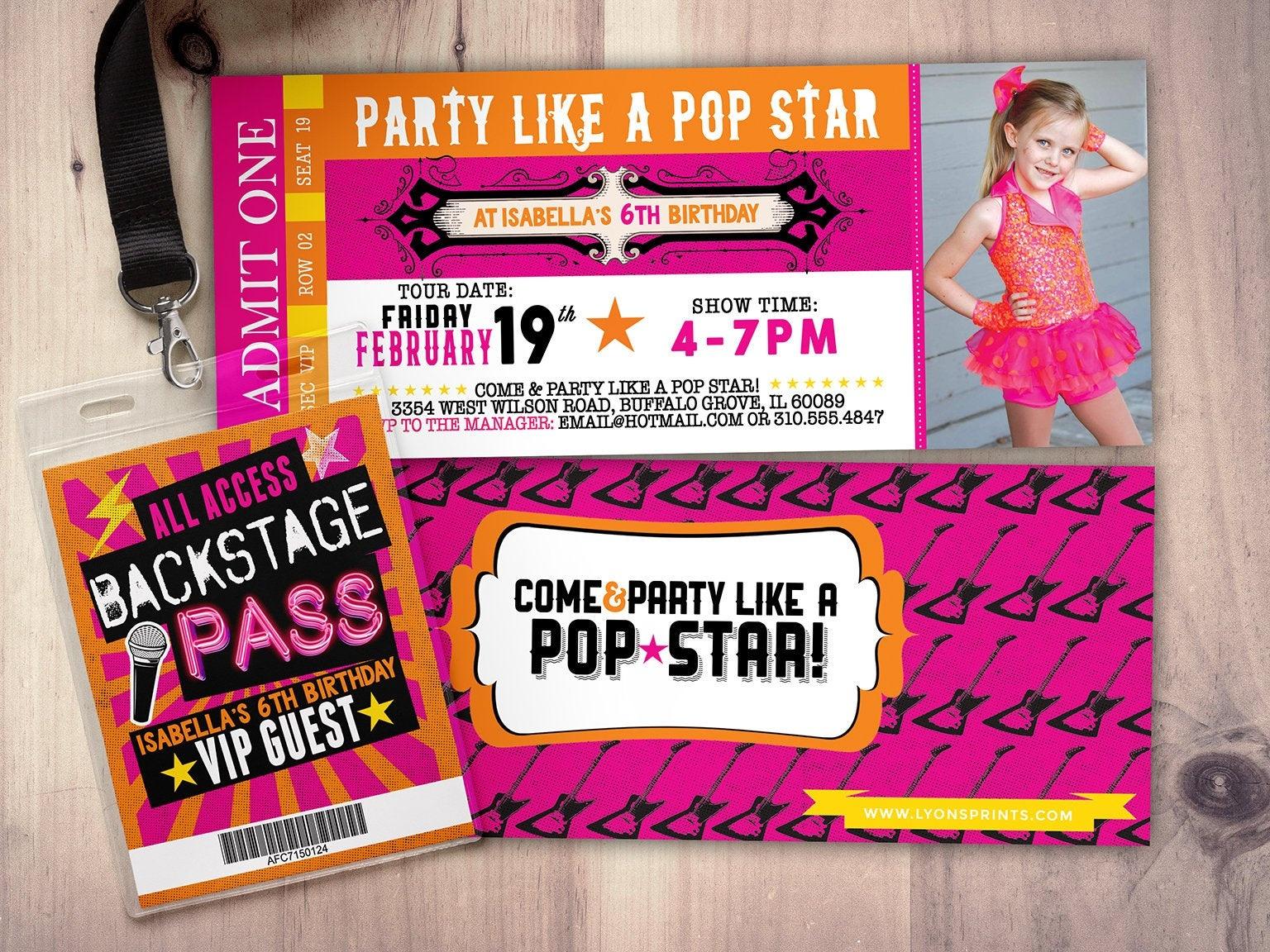 Rock Star Concert Ticket, Birthday Party Invitation- Music Invitation - Free Printable Rockstar Birthday Invitations