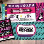 Rock Star Concert Ticket Birthday Party Invitation  Music Invitation   Free Printable Rockstar Birthday Invitations