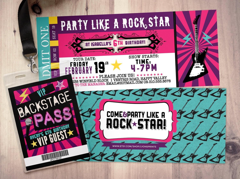 Rock Star Concert Ticket Birthday Party Invitation- Music Invitation - Free Printable Rockstar Birthday Invitations