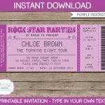 Rock Star Party Ticket Invitations Template | Purple | Birthday   Free Printable Rockstar Birthday Invitations