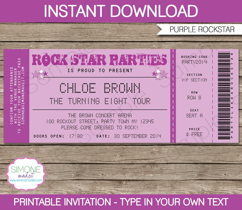 Rock Star Party Ticket Invitations Template | Purple | Birthday - Free Printable Rockstar Birthday Invitations