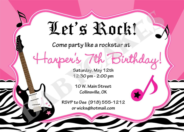 Rockstar Birthday Party Invitation Zebra Printjcbabycakes - Free Printable Rockstar Birthday Invitations
