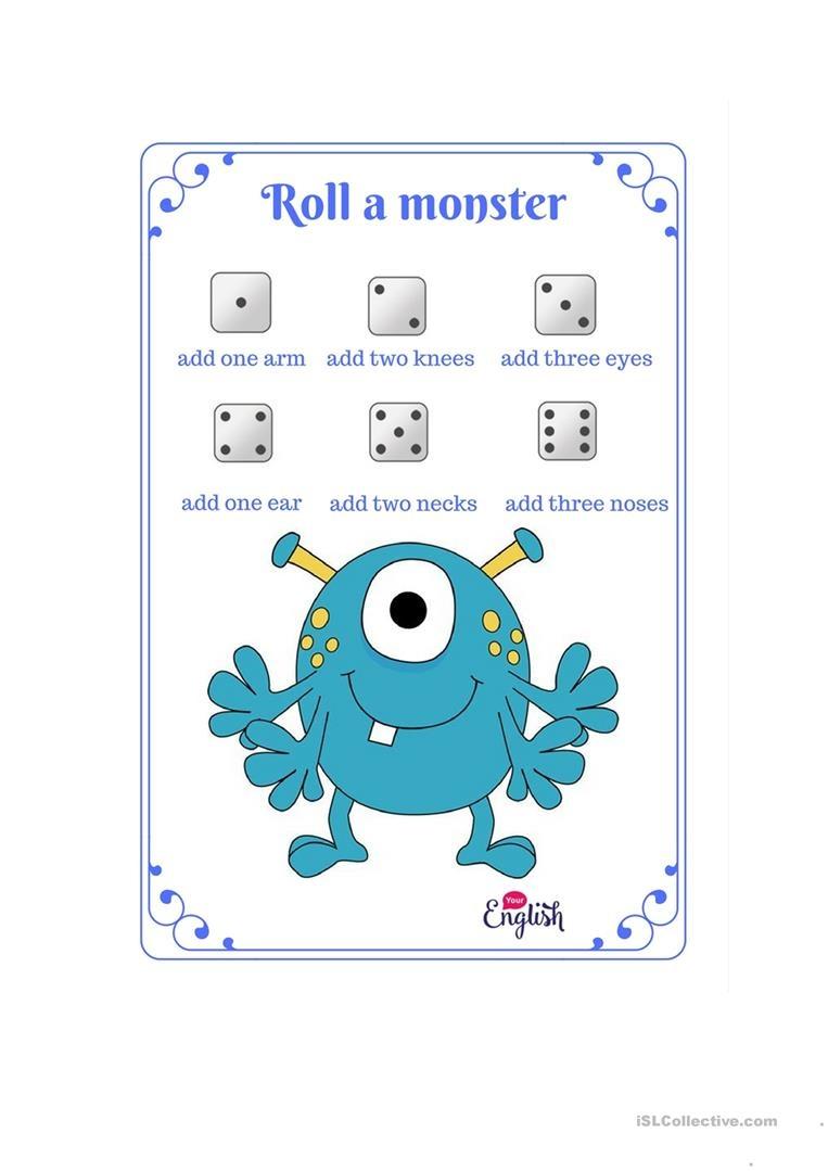 Roll A Monster Game. Worksheet - Free Esl Printable Worksheets Made - Roll A Monster Free Printable
