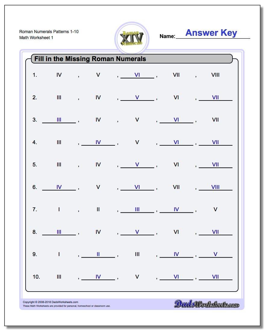 Roman Numerals - Free Printable Roman Numerals Chart