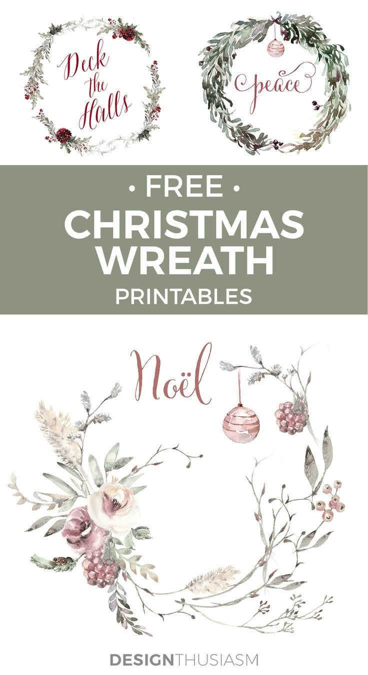 Romantic French Country Christmas Wreath Printables   Free - Free Printable Romantic Christmas Cards