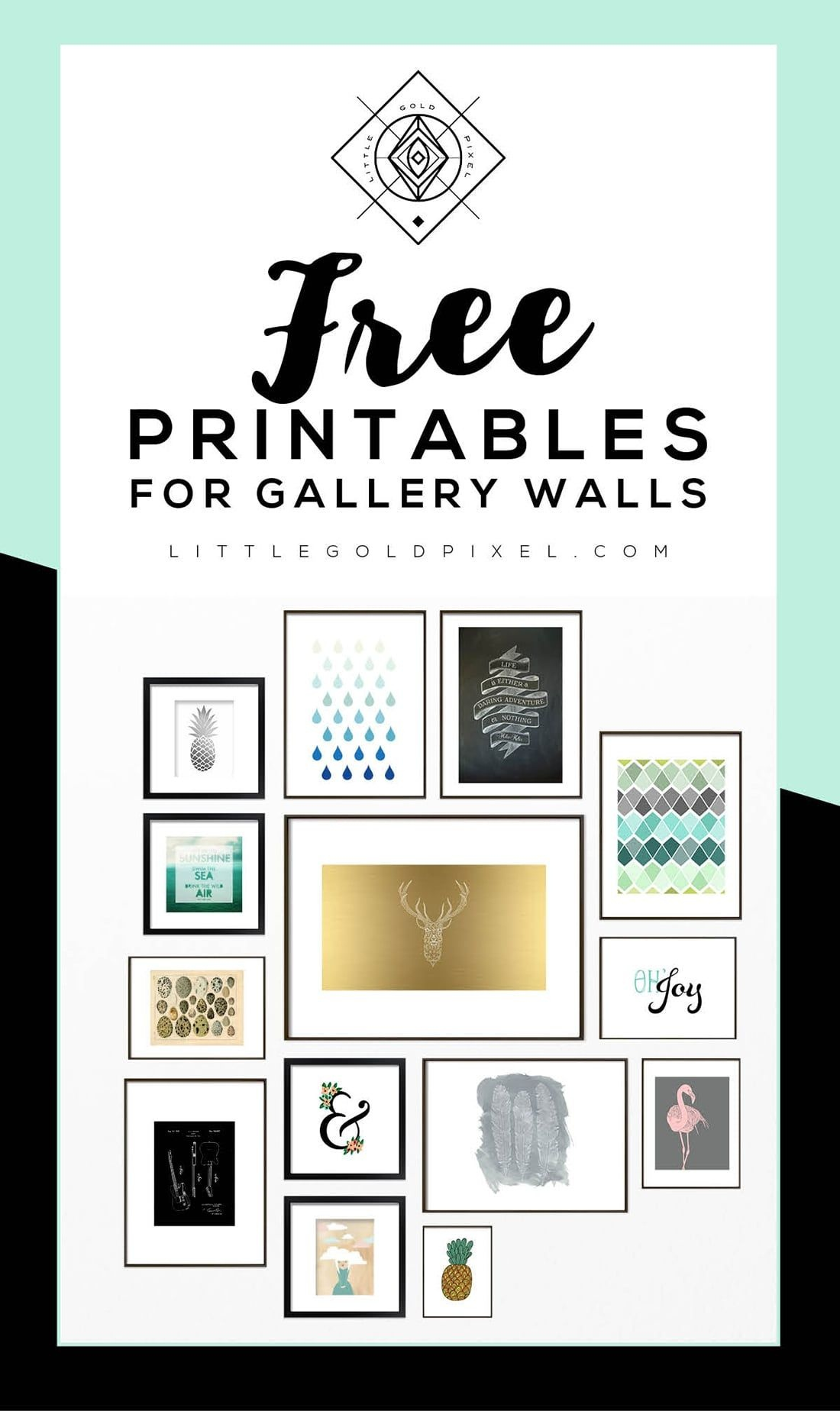 Roundup: Free Printables For Gallery Walls   Printable Decor, Free - Free Gallery Wall Printables