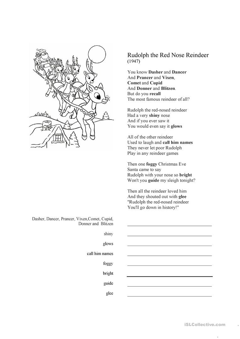 Rudolph The Red-Nosed Reindeer Song Lyrics Worksheet - Free Esl - Free Printable Song Lyrics