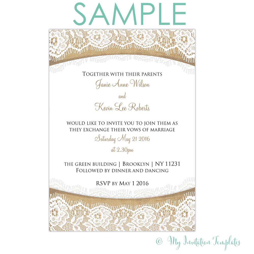 Rustic Burlap And Lace Wedding Invitation - Free Sample   Rs - Free Printable Sunflower Wedding Invitation Templates