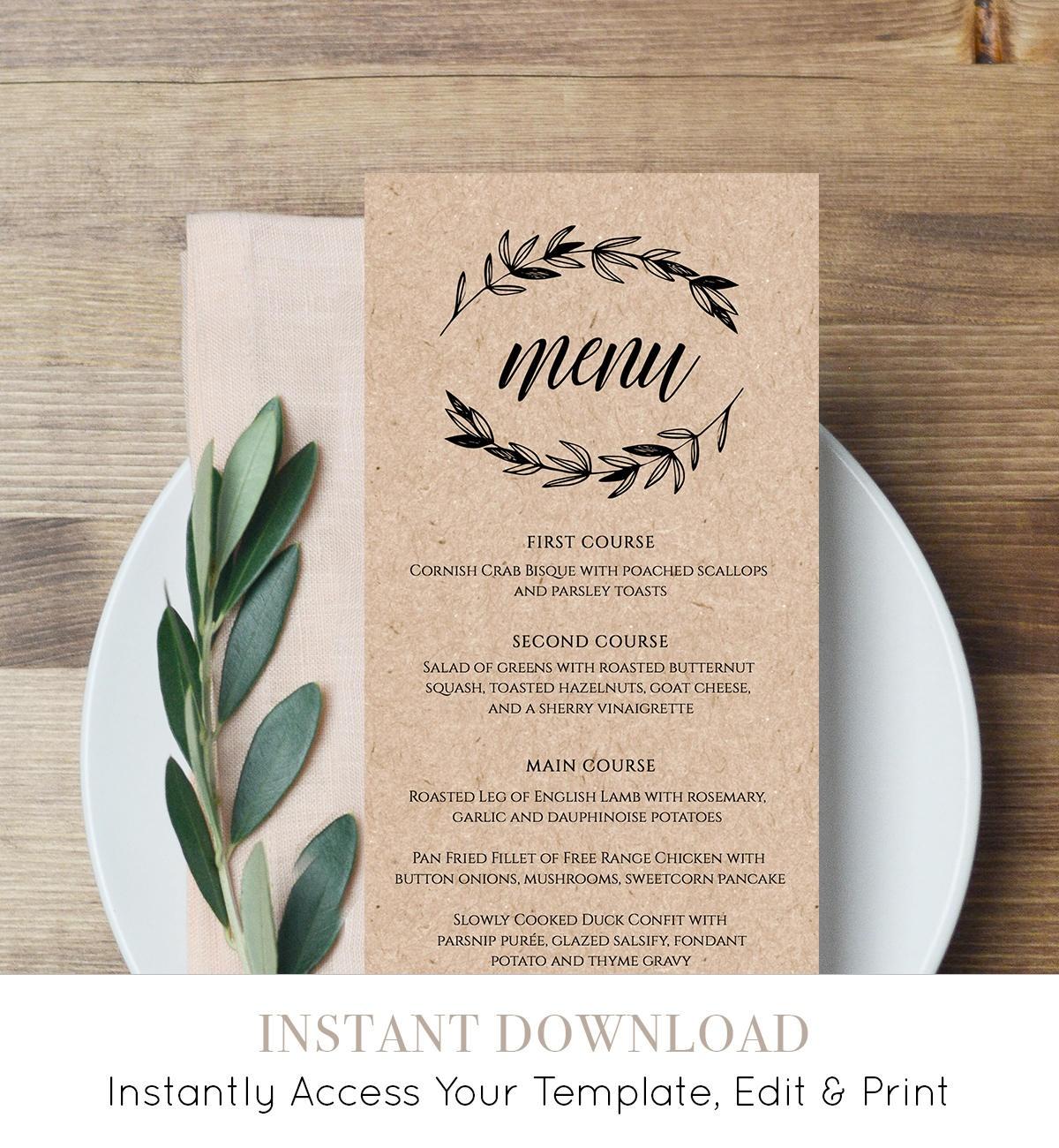 Rustic Wedding Menu Template, Printable Menu Card, Editable - Free Printable Menu Templates