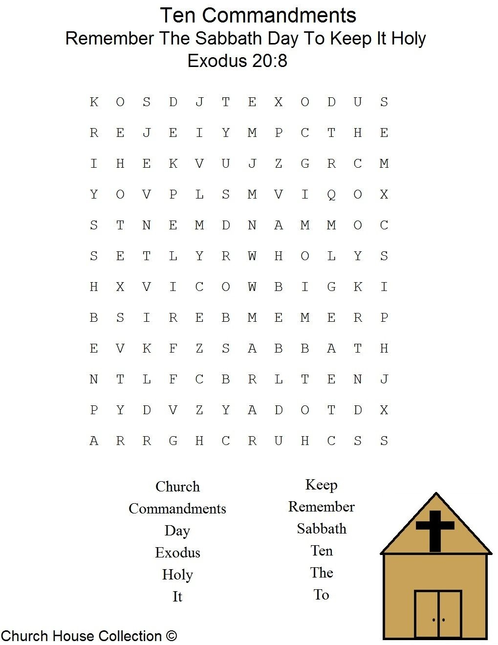 Sabbath Day Word Search   Sunday School   Sabbath Day Holy, Sunday - Free Printable Catholic Word Search