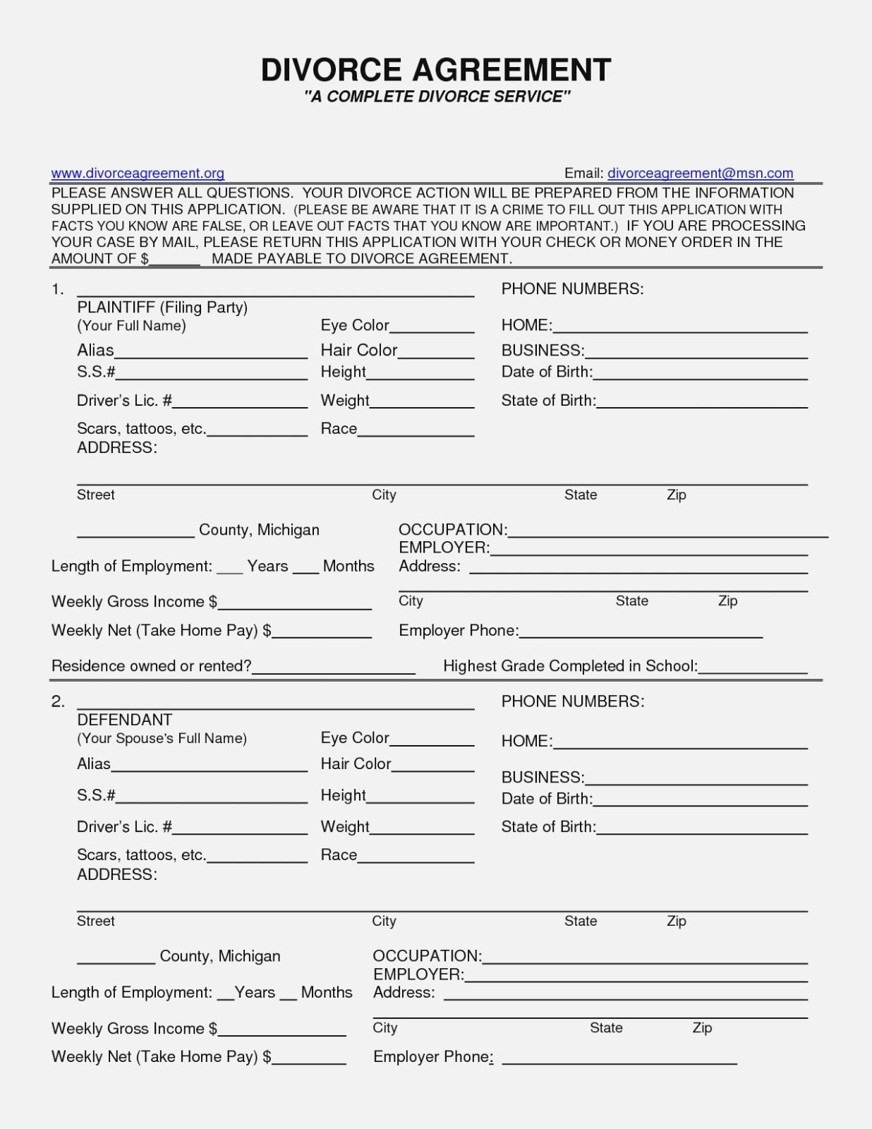 Sample Divorce Agreement Nj Luxury Form Free Printable Divorce - Free Printable Nj Divorce Forms