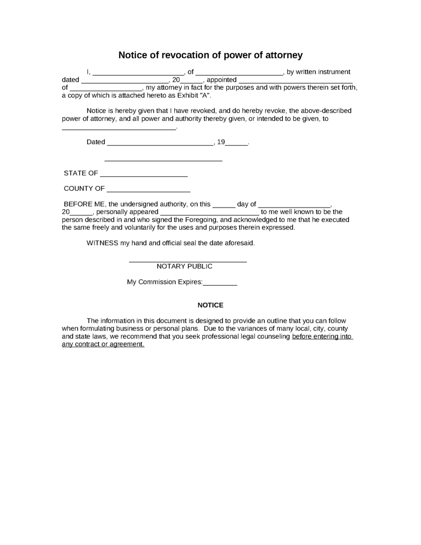 Sample Notice Of Revocation Of Power Of Attorney Form   8Ws - Free Printable Revocation Of Power Of Attorney Form