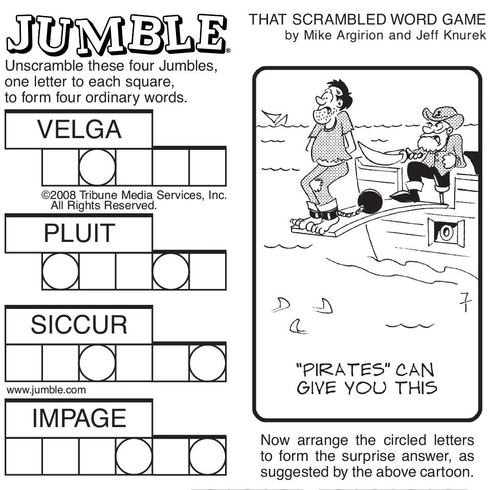Sample Of Sunday Jumble | Tribune Content Agency | Stuff I Like - Free Printable Jumbles
