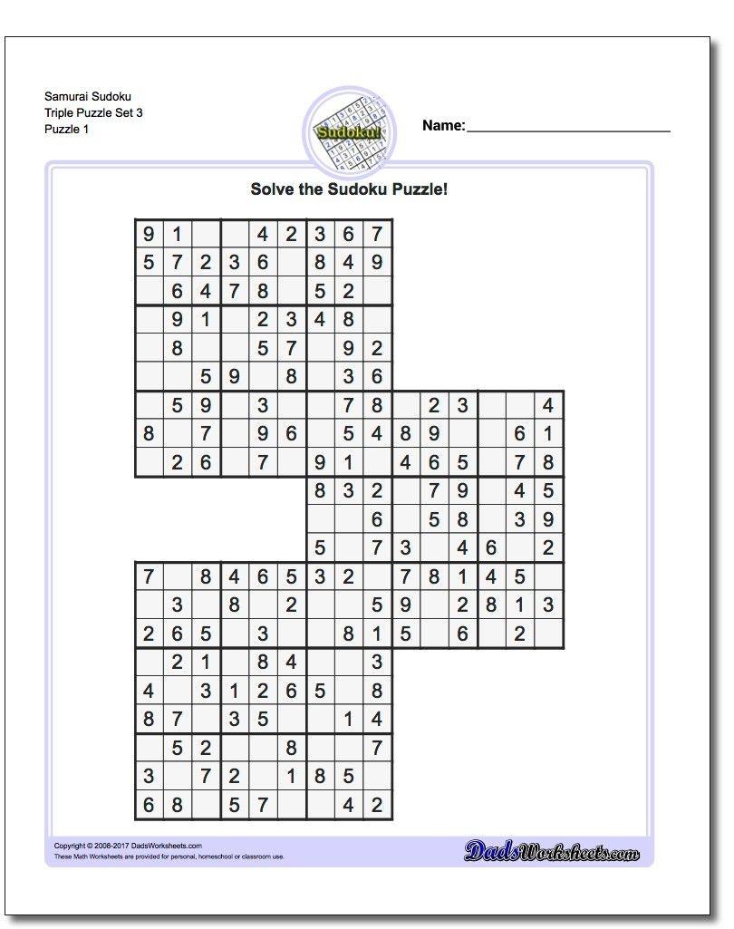 Samurai Sudoku Triples | Math Worksheets | Puzzle, Sudoku Puzzles - Free Printable Samurai Sudoku