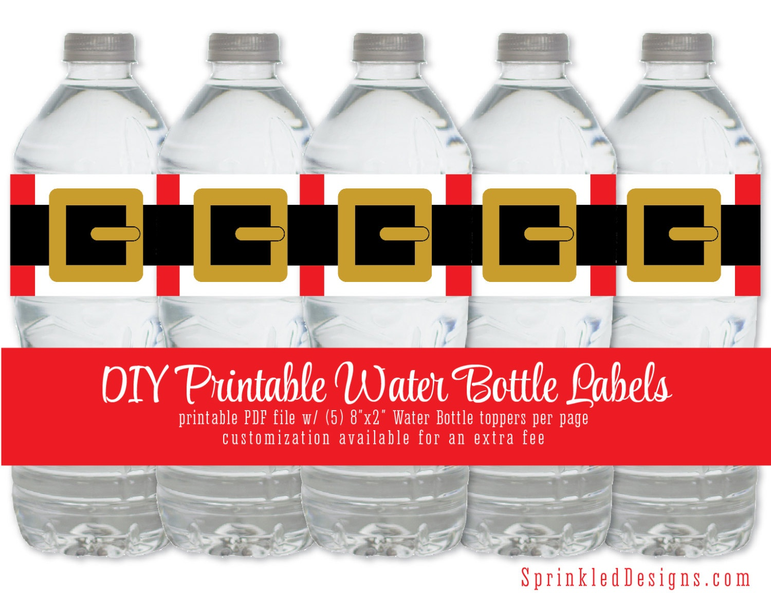 Santa Printable Water Bottle Labels - Funny Drink Wrap Wrapper - Christmas Water Bottle Labels Free Printable