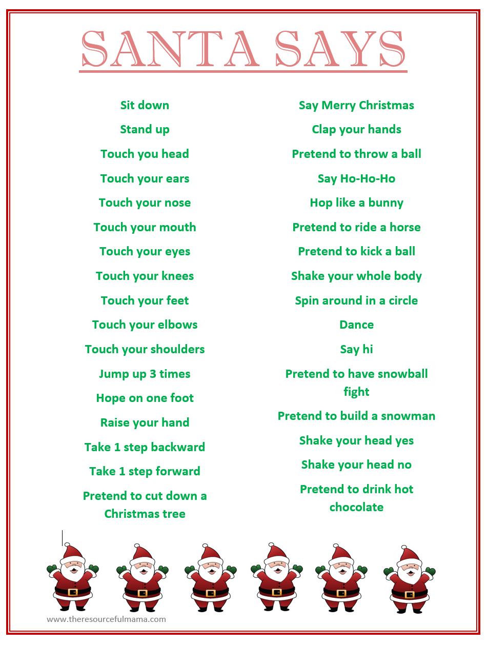 Santa Says Game For Christmas Parties {Free Printable} | Kid Blogger - Christian Christmas Games Free Printable