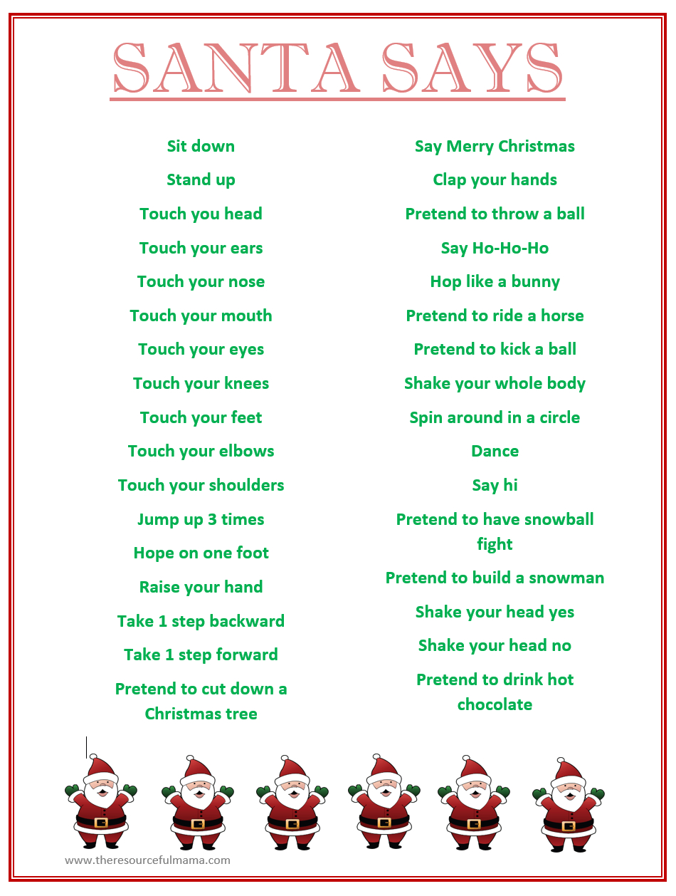 Santa Says Game For Christmas Parties {Free Printable}   Kid Blogger - Free Printable Christmas Family Games