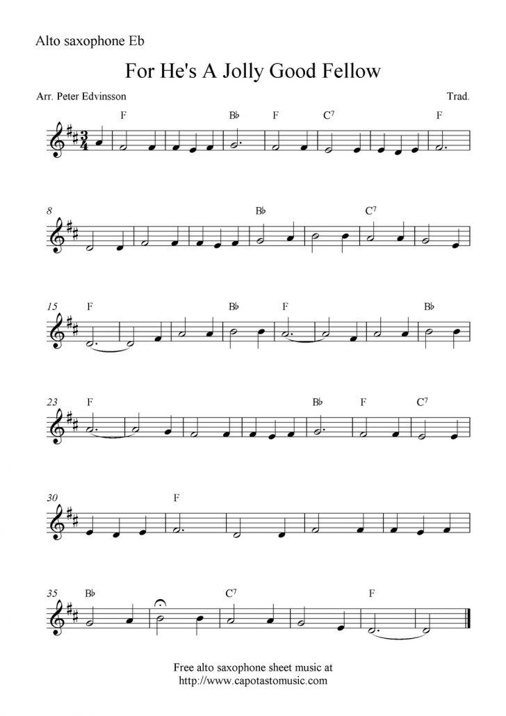 Free Printable Alto Saxophone Sheet Music