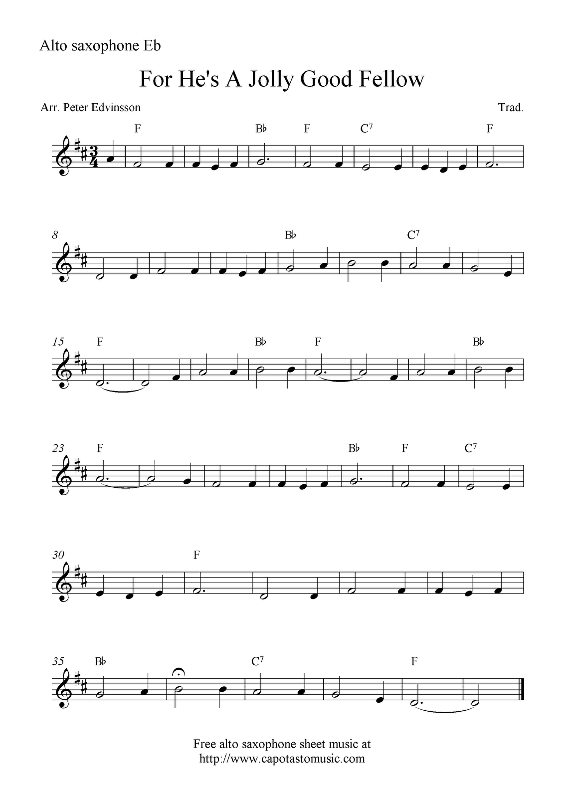 Saxophone Sheet Music For Beginners | Sheet Music Scores: For He's A - Free Printable Alto Saxophone Sheet Music