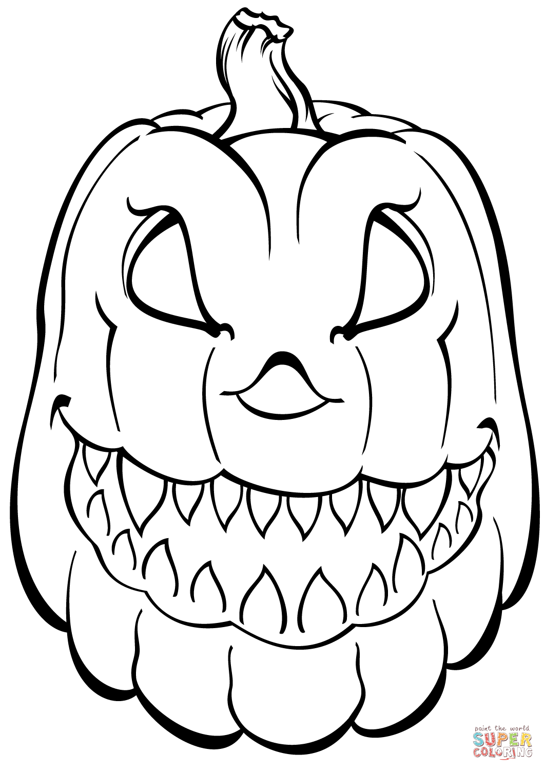 Scary Pumpkin Coloring Page   Free Printable Coloring Pages - Free Printable Pumpkin Coloring Pages