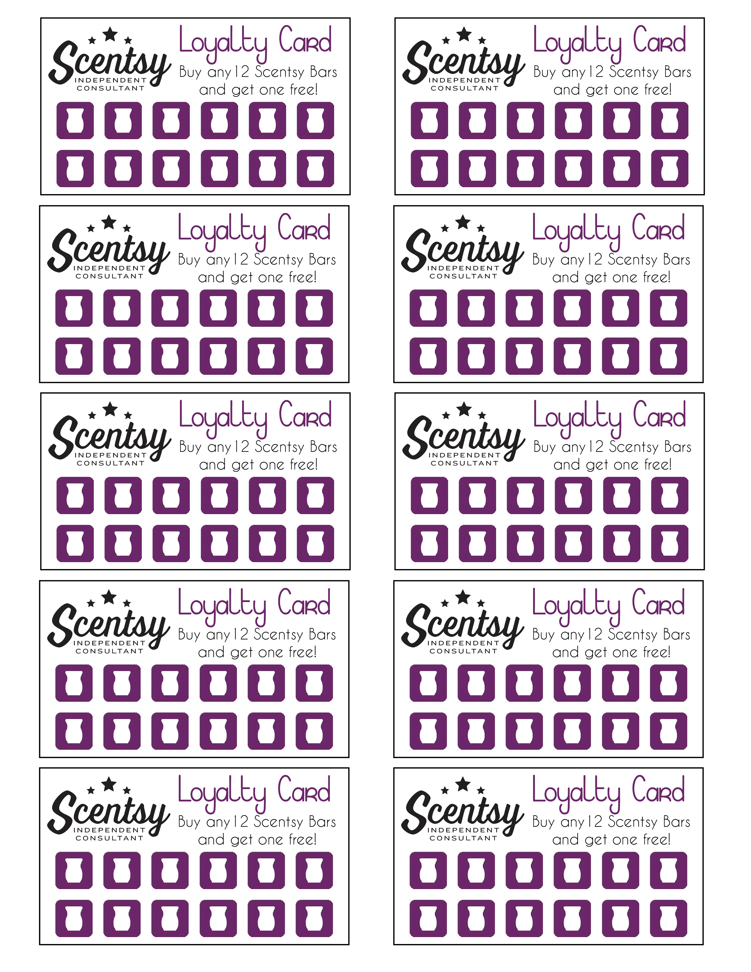 Scentsy Loyalty Card … | Scentsy In 2019… - Free Printable Scentsy Business Cards