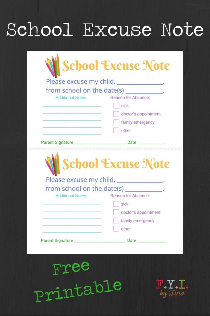 School Excuse Note - Free Printable • Fyitina | Back To School - Free Printable School Notes