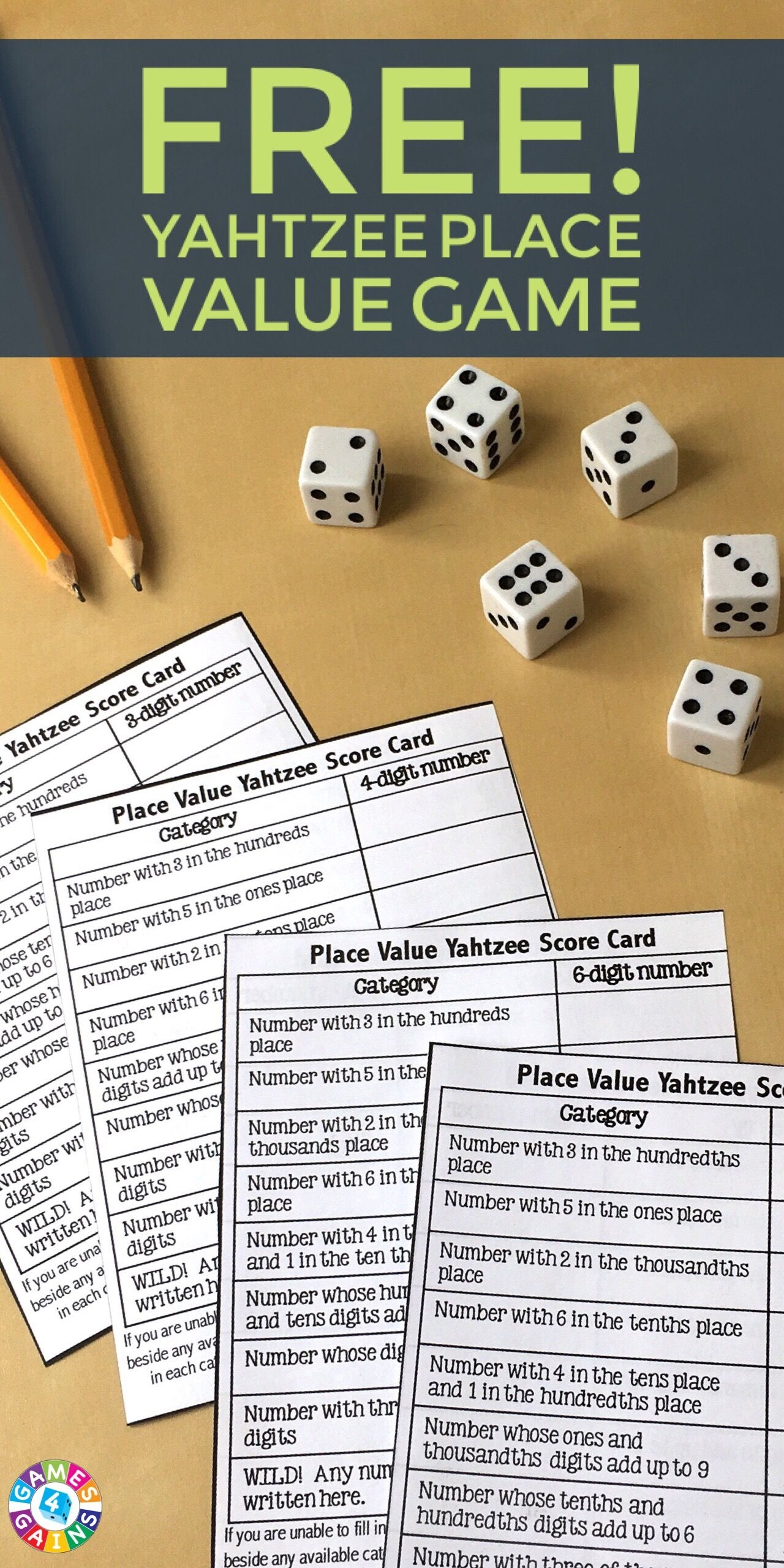Score Some Points With Place Value Yahtzee! | Math | Math, Fifth - Place Value Game Printable Free