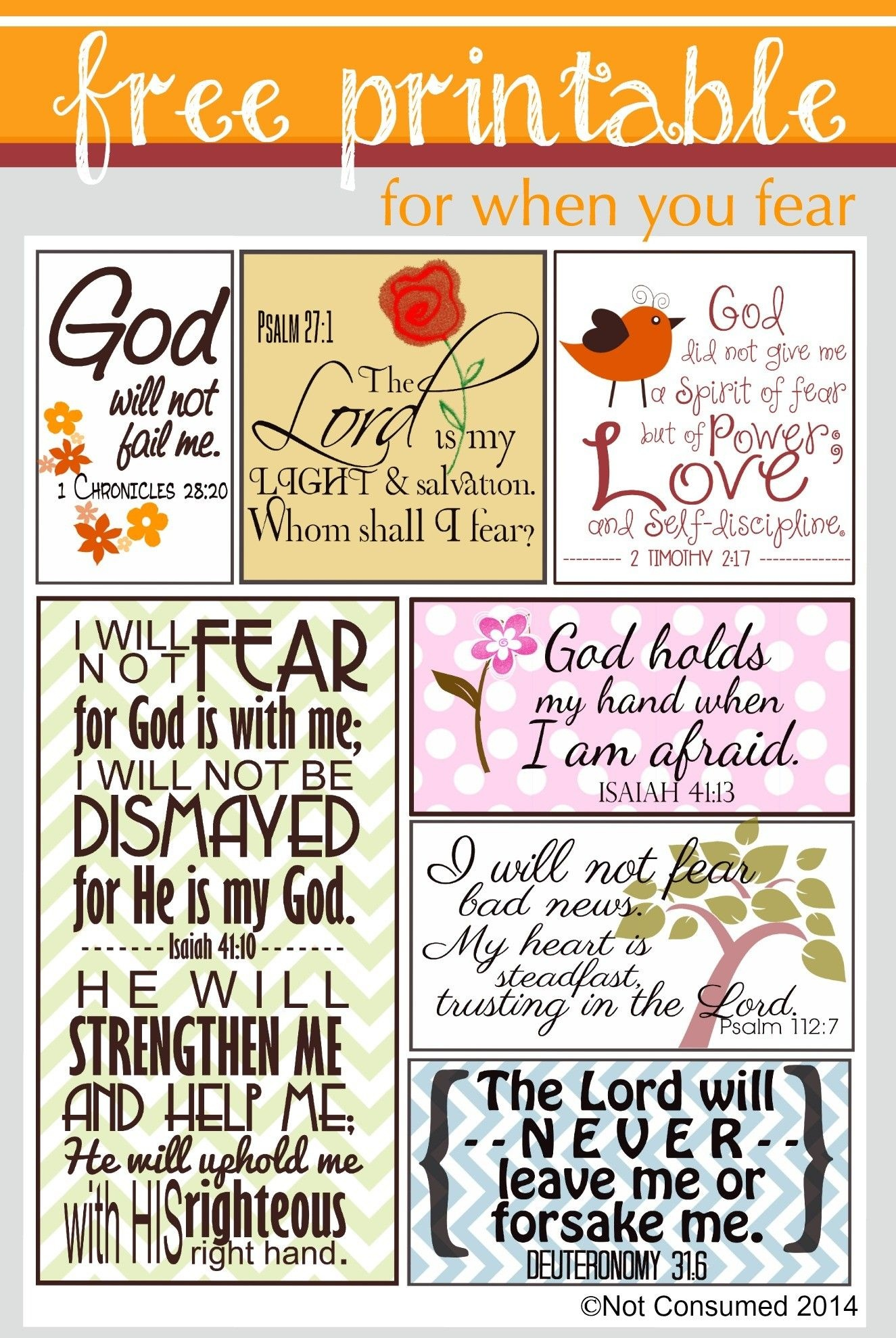 Scripture For When You Are Fearful   Bannie's Bible Journaling - Free Printable Scripture Cards