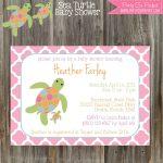 Sea Turtle Baby Shower Invitation & Banner Package   Girl Printable   Free Printable Turtle Baby Shower Invitations