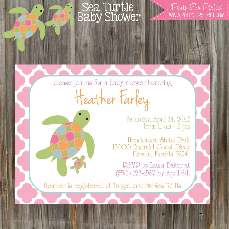 Sea Turtle Baby Shower Invitation & Banner Package - Girl Printable - Free Printable Turtle Baby Shower Invitations