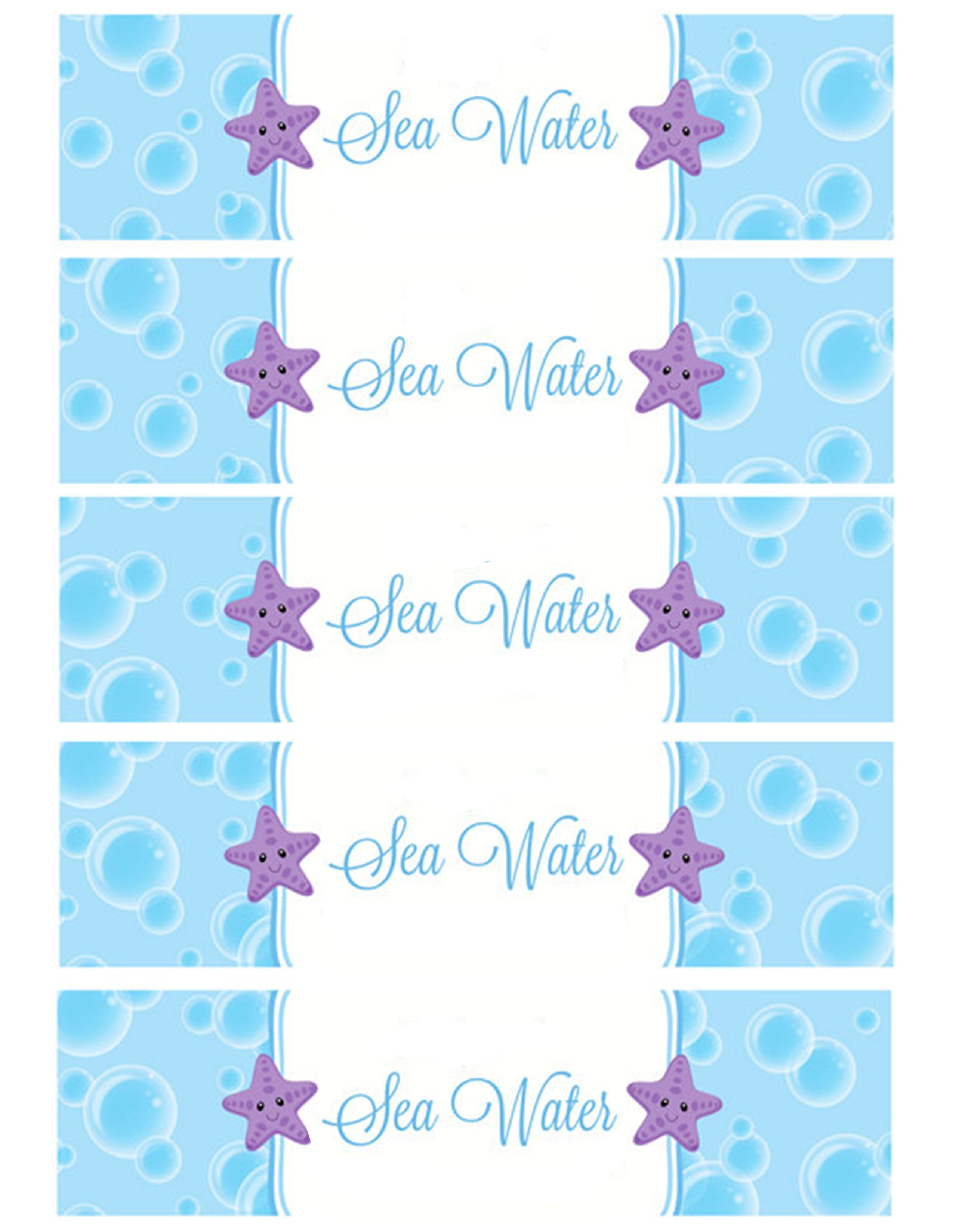 Sea Water Water Bottle Labels | Holiday - Birthday Party In 2019 - Free Printable Little Mermaid Water Bottle Labels