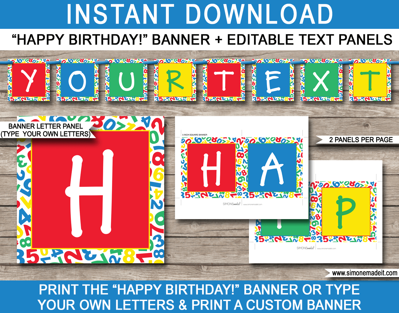 Sesame Street Party Banner Template | Happy Birthday Bunting - Simone Made It Free Printables
