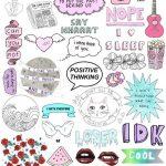 Set 117. Mockup Printable Tumblr Stickers Stickers Set Of | Etsy   Free Printable Tumblr Stickers