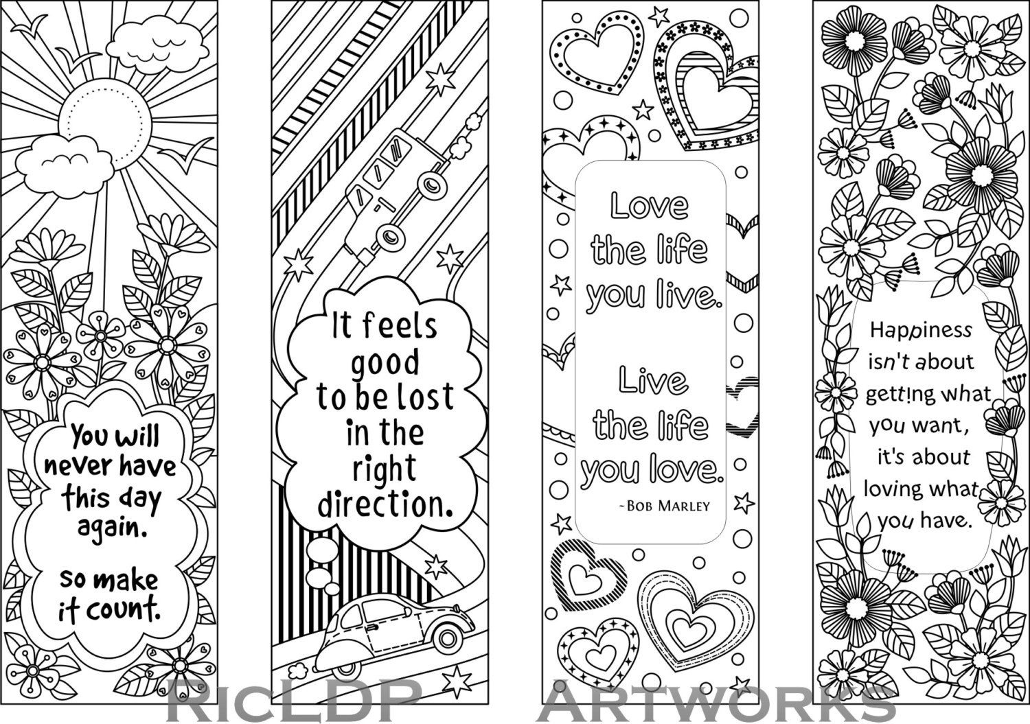 Set Of 4 Coloring Bookmarks With Quotes, Bookmark Templates With - Free Printable Bookmarks To Color