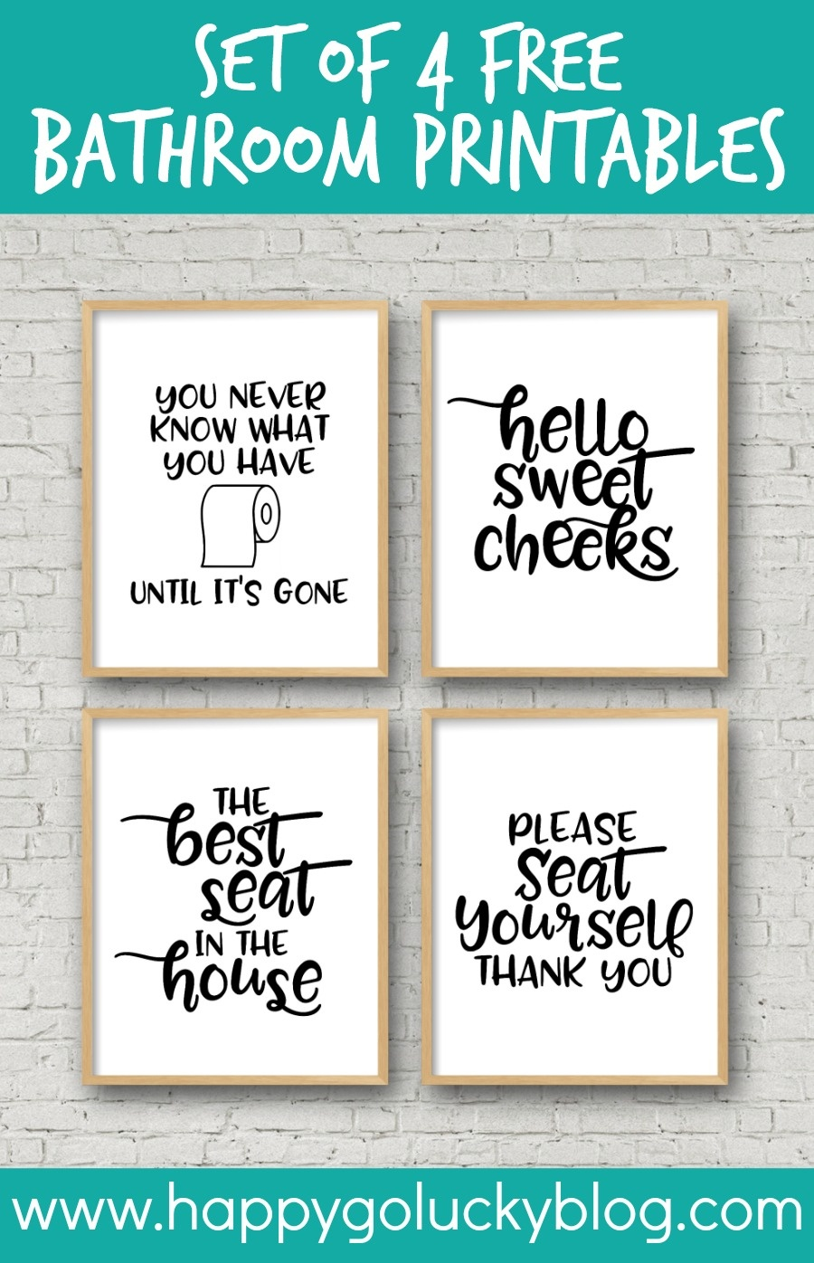Set Of 4 Printable Bathroom Signs - Happy-Go-Lucky - Free Printable Bathroom Pictures