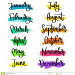 Set Of Labels Of The Months Of The Year. Stock Vector   Illustration   Free Printable Months Of The Year Labels