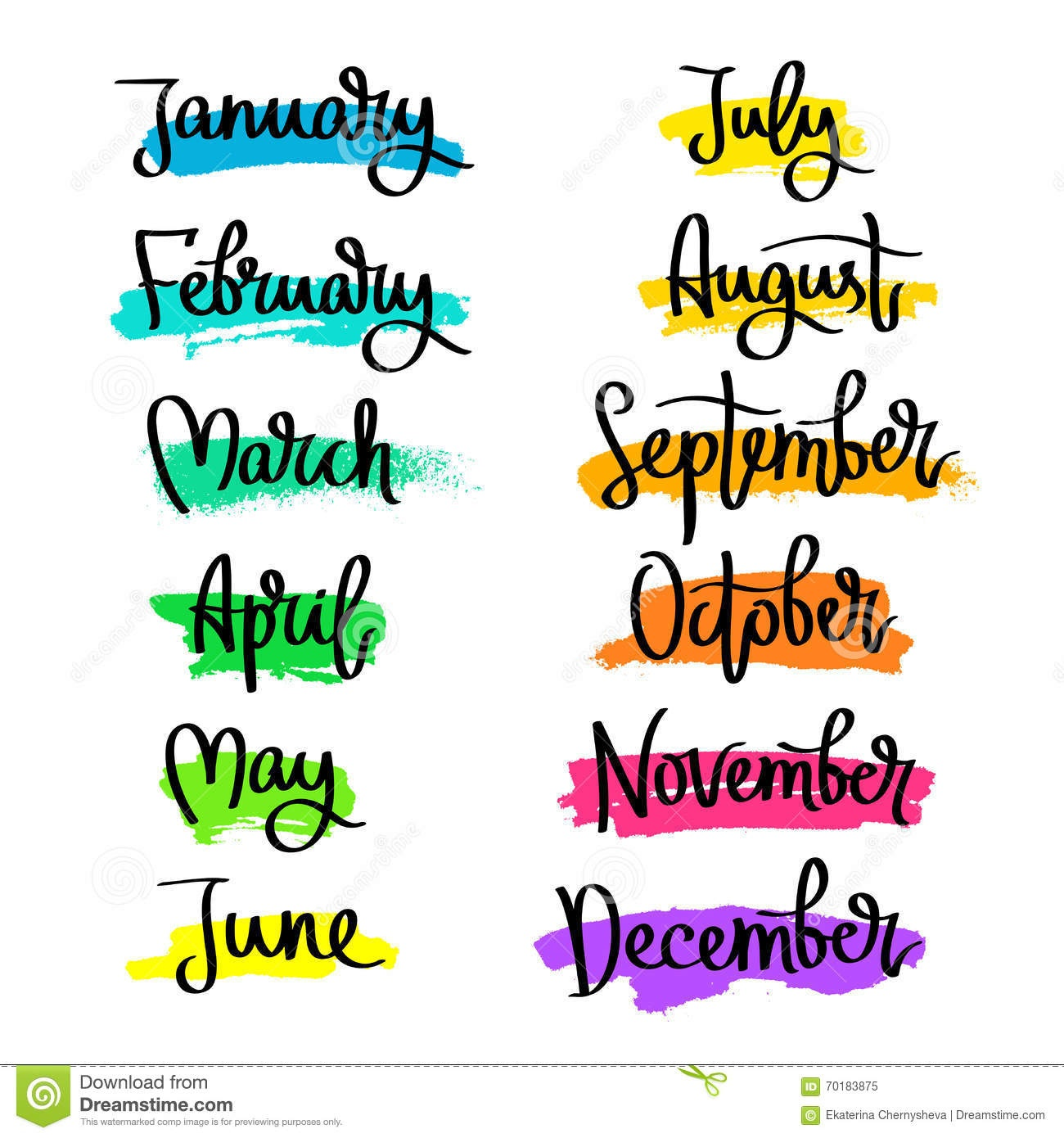 Set Of Labels Of The Months Of The Year. Stock Vector - Illustration - Free Printable Months Of The Year Labels