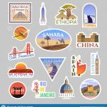 Set Of Vector Travelling Stickers Colliction. Around The World Stock   Free Printable Travel Stickers