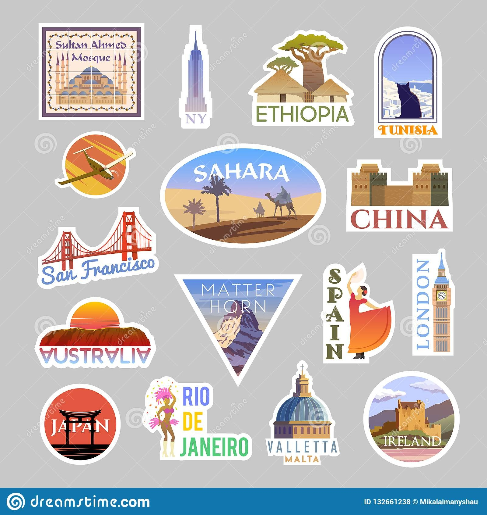Set Of Vector Travelling Stickers Colliction. Around The World Stock - Free Printable Travel Stickers