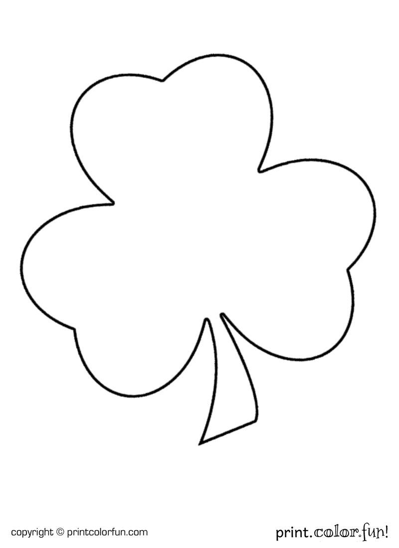 Shamrock For St Patrick's Day Coloring Page - Print. Color. Fun! - Free Printable Shamrock Cutouts