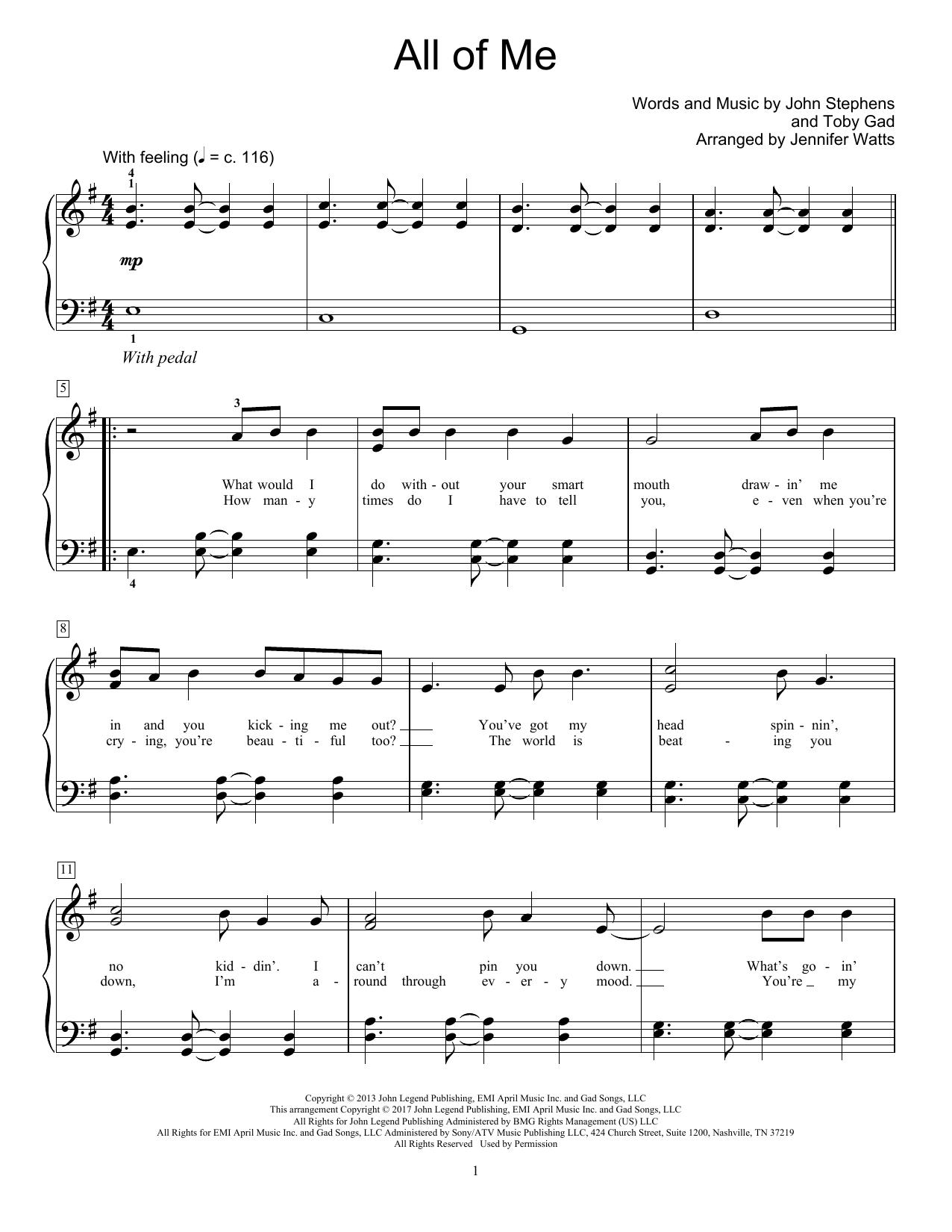 Sheet Music Digital Files To Print - Licensed John Stephens Digital - All Of Me Easy Piano Sheet Music Free Printable