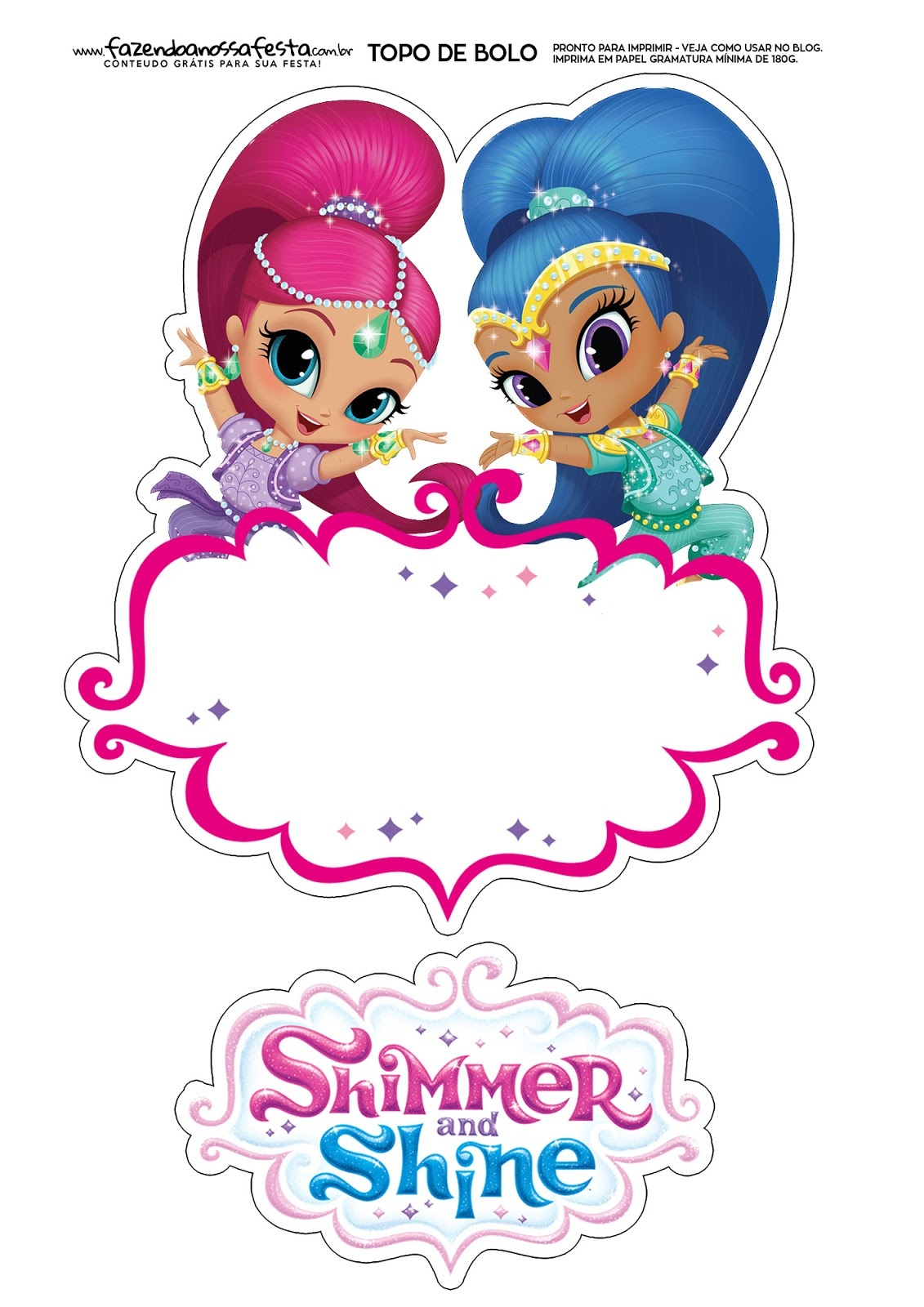Shimmer And Shine Free Printable Cake Toppers. - Oh My Fiesta! In - Shimmer And Shine Free Printables