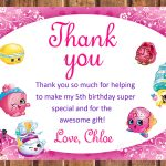 Shopkins Thank You Card Shopkins Birthday Card Shopkins | Etsy   Shopkins Thank You Cards Free Printable