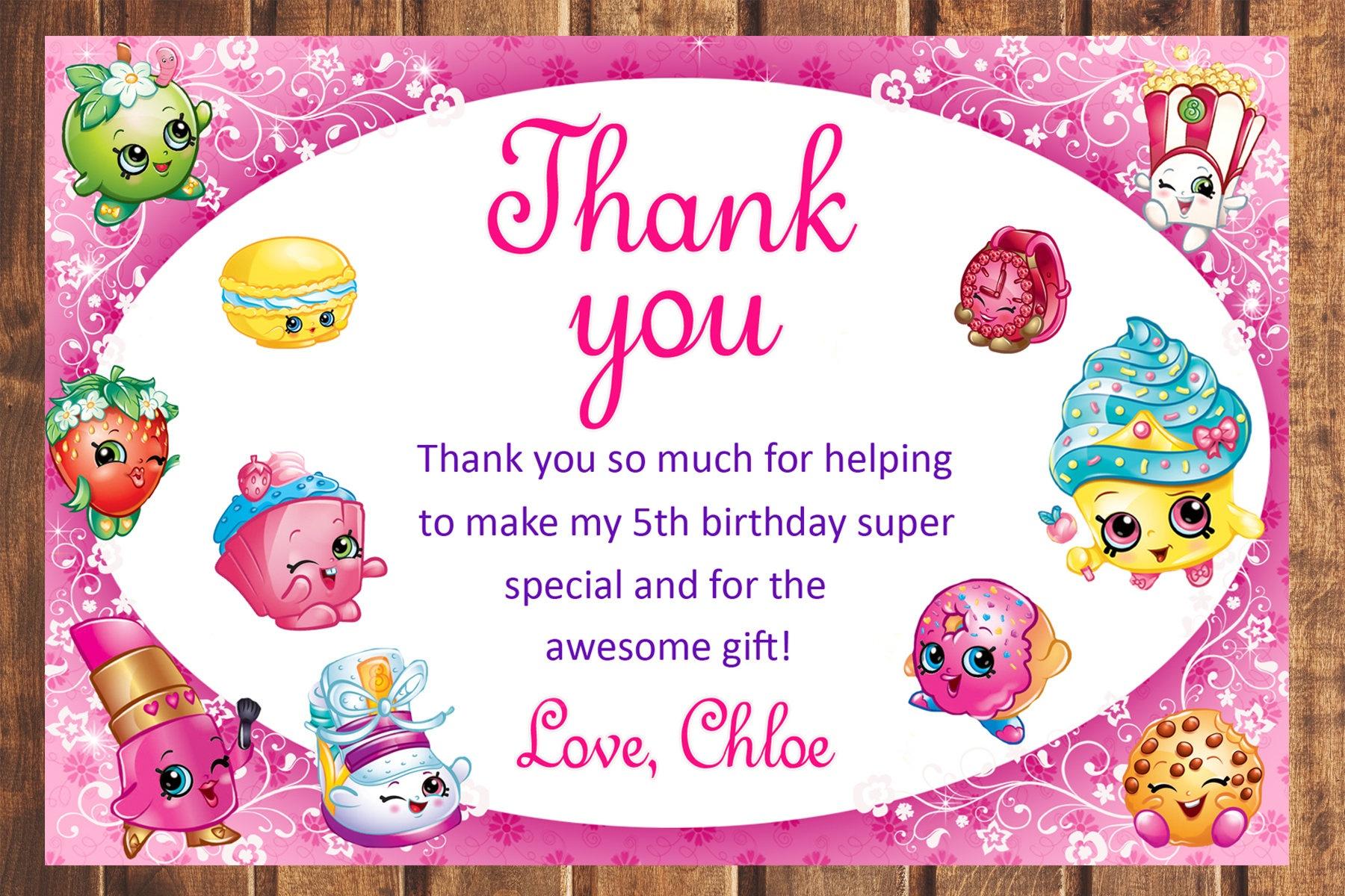 Shopkins Thank You Card Shopkins Birthday Card Shopkins | Etsy - Shopkins Thank You Cards Free Printable
