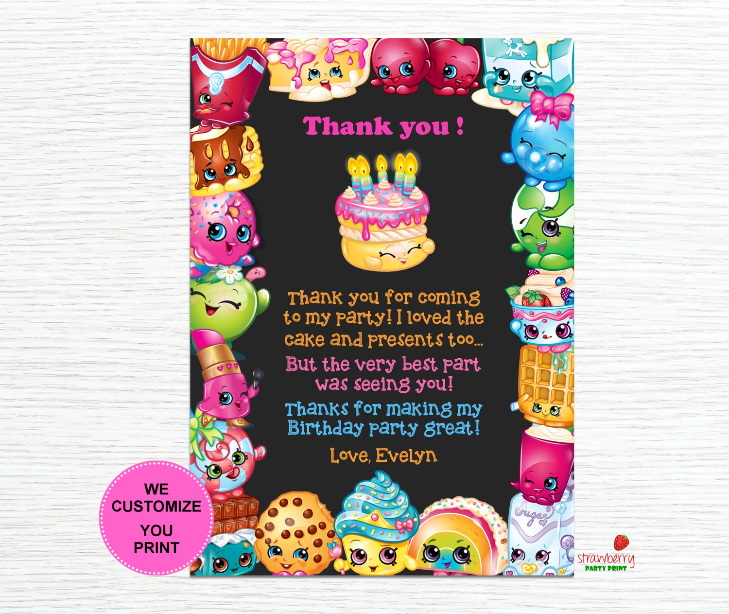 Shopkins Thank You Cards Shopkins Birthday Thank You Notes | Etsy - Shopkins Thank You Cards Free Printable